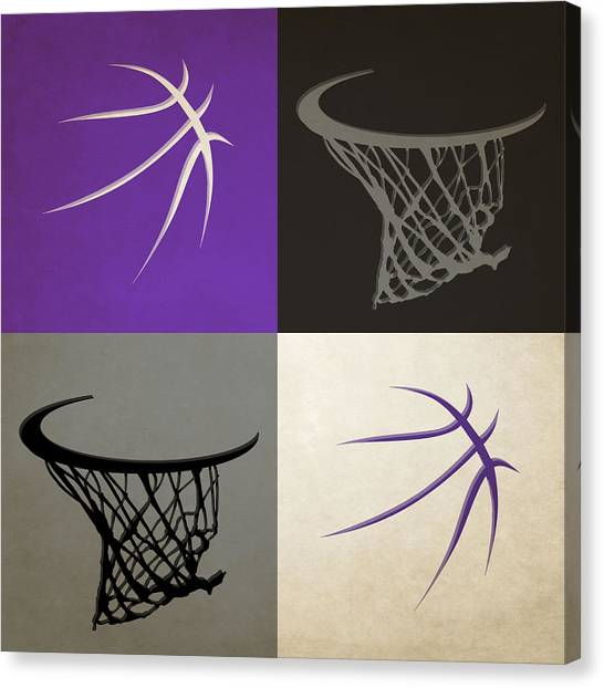 Sacramento Kings Canvas Print - Kings Ball And Hoop by Joe Hamilton