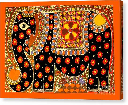King's Elephant-madhubani Paintings Canvas Print