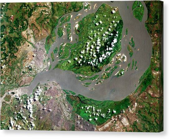 Congo River Canvas Print - Kinshasa And Brazzaville by Planetobserver/science Photo Library