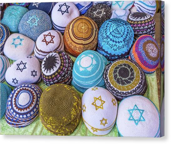 Torah Canvas Print - Kippah Hats For Sale, Israel by William Perry