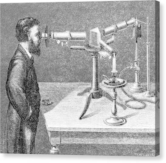 Flame Test Canvas Print - Kirchhoff Using A Spectroscope by Emilio Segre Visual Archives/american Institute Of Physics