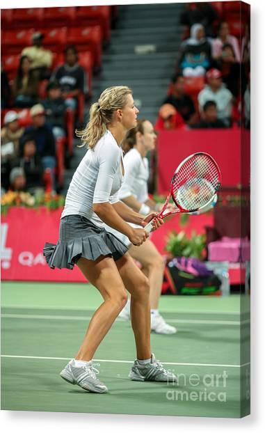 Tennis Pros Canvas Print - Kirilenko And Hingis In Doha by Paul Cowan