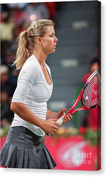 Tennis Pros Canvas Print - Kirilenko In Doha by Paul Cowan