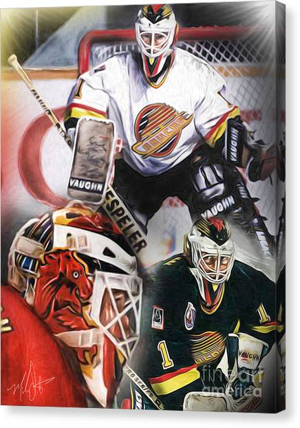 Vancouver Canucks Canvas Print - Kirk Mclean Collage by Mike Oulton