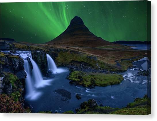 Aurora Borealis Canvas Print - Kirkjufell...   Under A Boreal Green Sky by Alvaro Roxo