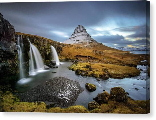 Kirkjufell With Waterfalls Canvas Print