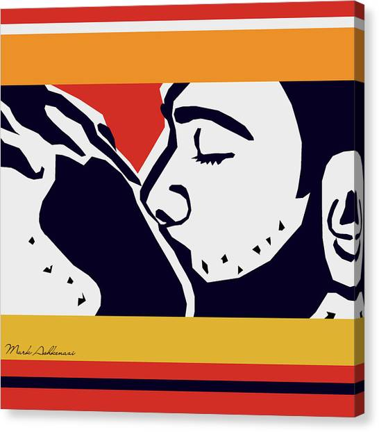 Bodybuilder Canvas Print - Kiss 2 by Mark Ashkenazi