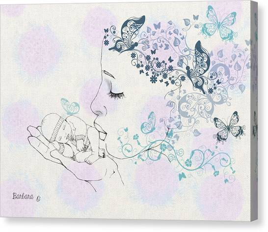 Kiss To A New Born Canvas Print