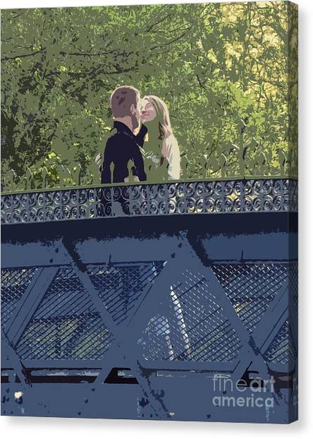Kissing On A Bridge Canvas Print