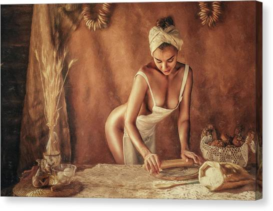 Fine Art Nudes Canvas Print - Kitchen by Evgeny Loza