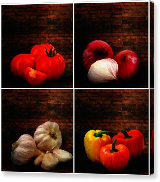 Ingredient Canvas Print - Kitchen Ingredients Collage by Lourry Legarde