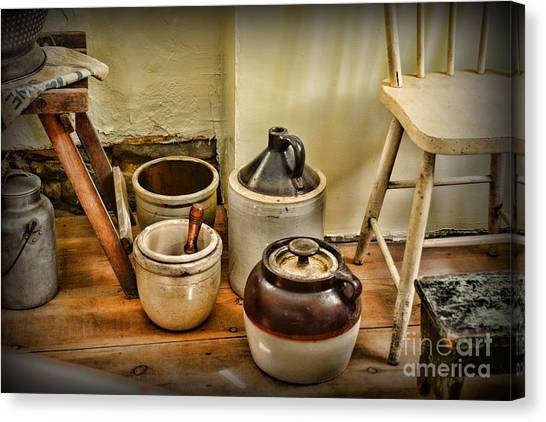 Crock Canvas Print - Kitchen Old Stoneware by Paul Ward