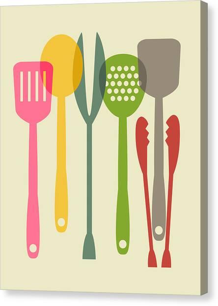 Kitchen Utensils Canvas Print - Kitchen Tools by Ramneek Narang