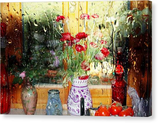 Kitchen Window Reverse Perspective Canvas Print