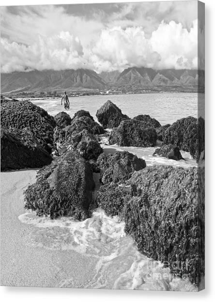 Mountain Cliffs Canvas Print - Kite Beach Maui Hawaii by Edward Fielding