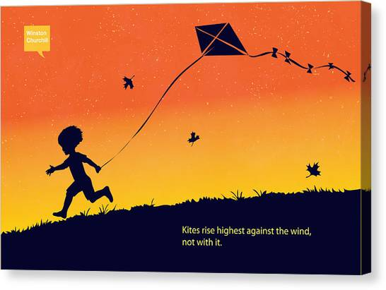 Flying Canvas Print - Kite Flier by Sassan Filsoof