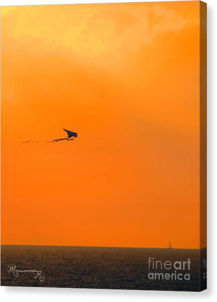 Kite-flying At Sunset Canvas Print
