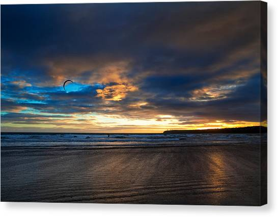 Waterford Canvas Print - Kite Surfers On Tramore Beach by Panoramic Images