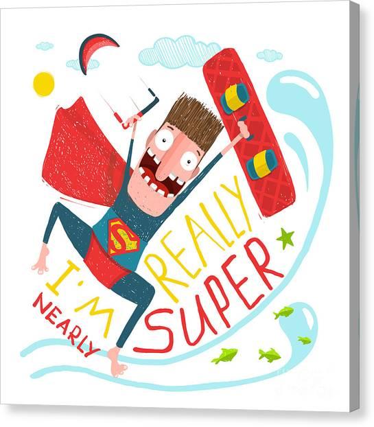 Sun Canvas Print - Kite Surfing Caricature Superhero by Popmarleo