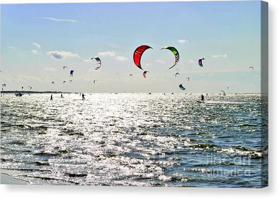 Kitesurfing In The Sun Canvas Print