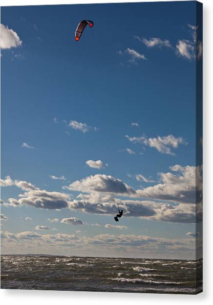 Kitesurfing The Long Island Sound Canvas Print