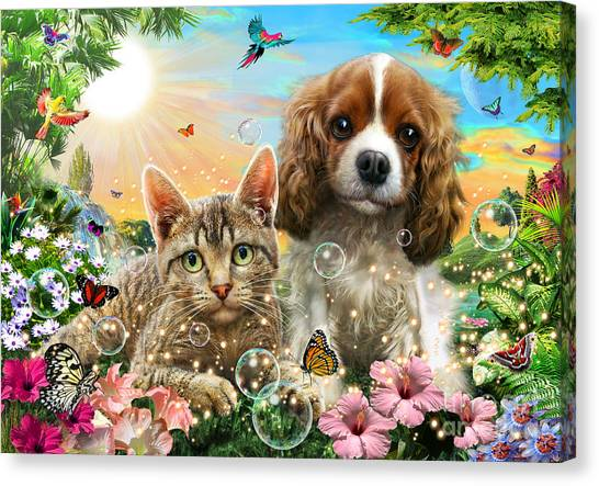 Cocker Spaniels Canvas Print - Kitten And Puppy by Adrian Chesterman