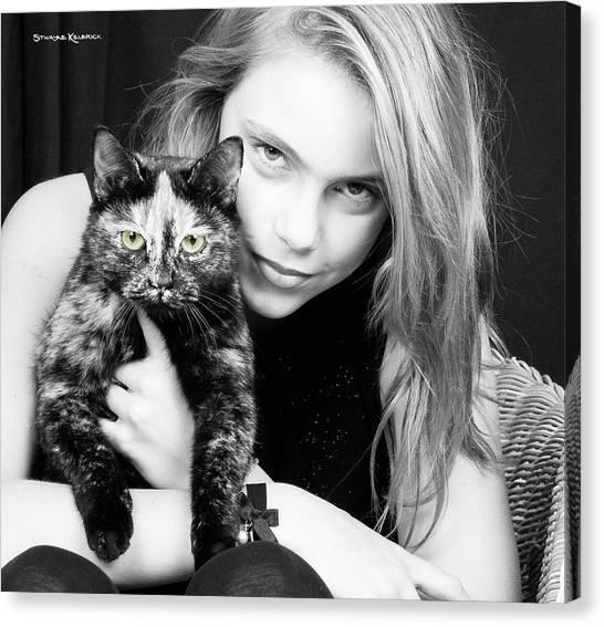 Canvas Print featuring the photograph Kitten Eyes by Stwayne Keubrick