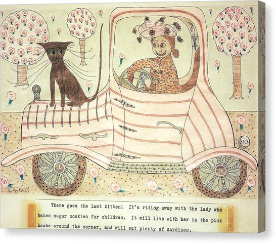 Kitten On Car Canvas Print by Eleanor Arbeit