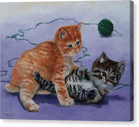 Kittens At Play Canvas Print by Donna Munsch