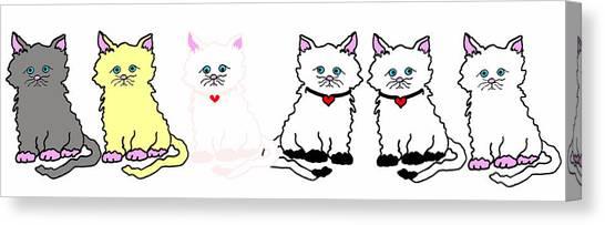 Kitties In A Row Canvas Print