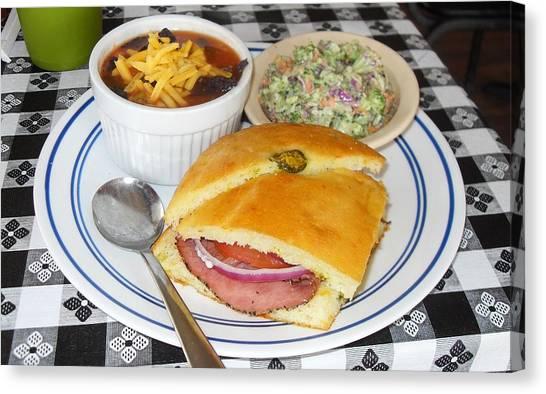 Cornbread Canvas Print - Kitt's Cornbread Sandwich Plate by Donna Wilson