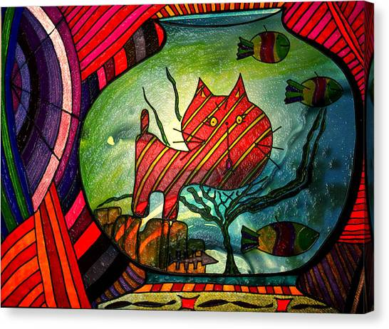 Kitty In A Fish Bowl - Abstract Cat Canvas Print