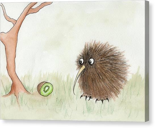 Kiwis Canvas Print - Kiwi Bird And Kiwi Fruit by Melissa Rohr Gindling