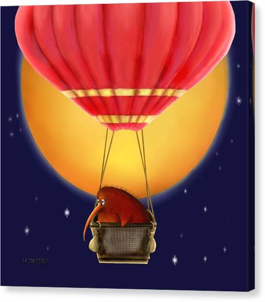 Kiwi Bird Kev. Fly Me To The Moon Canvas Print