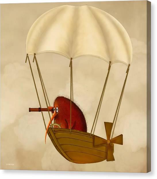 Kiwi Bird Kev's Airship Canvas Print