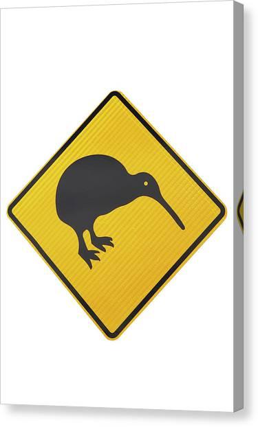 Kiwi Warning Sign, New Zealand Canvas Print by David Wall