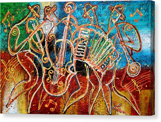 Orthodox Art Canvas Print - Klezmer Music Band by Leon Zernitsky