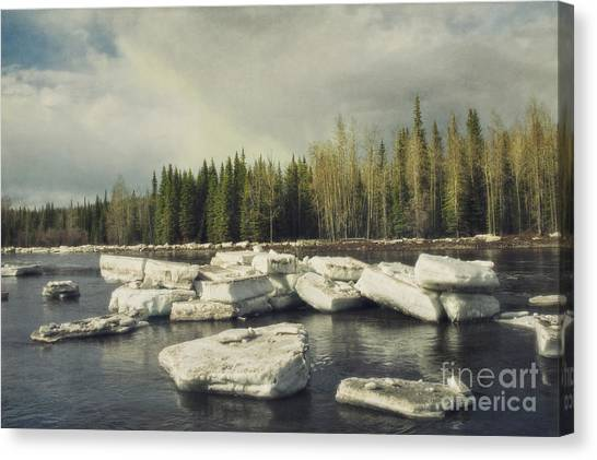 Yukon Canvas Print - Klondike River Ice Break by Priska Wettstein