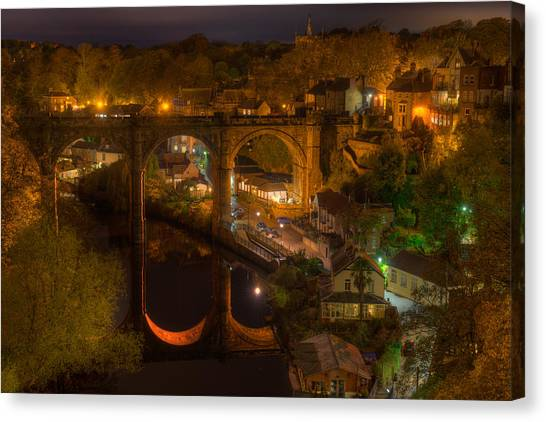 Knaresbrough Viaduct At Night Reflection Canvas Print