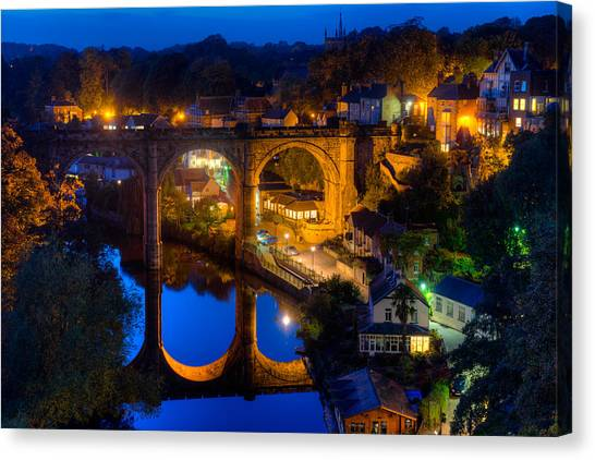 Knaresbrough Viaduct Night Reflection Canvas Print by Dennis Dame