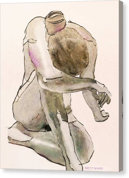 Kneeling Nude Canvas Print