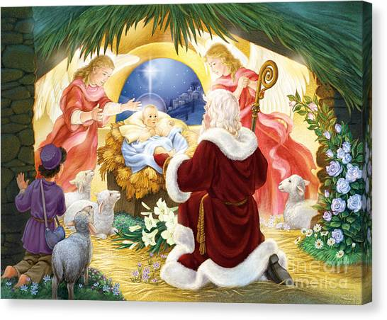 Kneeling Santa Nativity Canvas Print