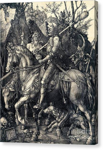 Satan Canvas Print - Knight Death And The Devil by Albrecht Durer