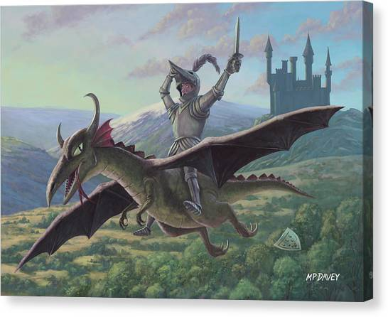 Knight Riding On Flying Dragon Canvas Print