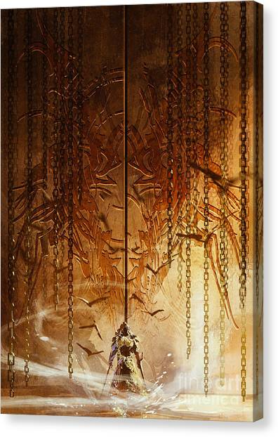 Brass Canvas Print - Knight Standing In Front Of The Huge by Tithi Luadthong