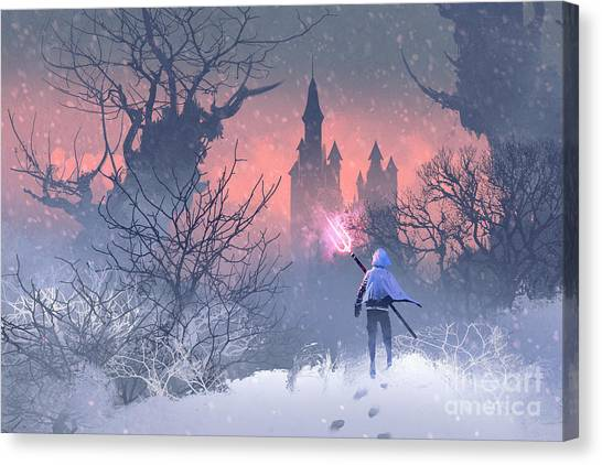 Knights Canvas Print - Knight With Trident In Winter by Tithi Luadthong