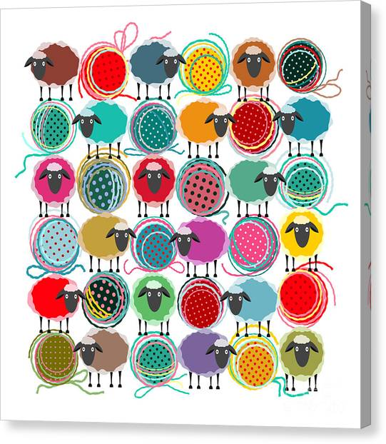 Bright Canvas Print - Knitting Yarn Balls And Sheep Abstract by Popmarleo