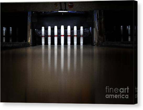 Bowling Shoes Canvas Print - Knock Em Down by Luke Moore