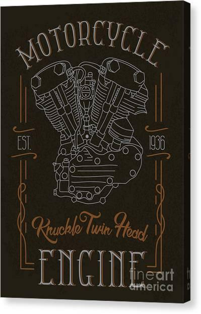Speed Canvas Print - Knuckle Twin Head Motorcycle Engine by Sergj