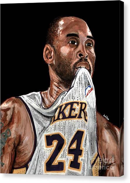 Black Mambas Canvas Print - Kobe Bryant Biting Jersey by Israel Torres